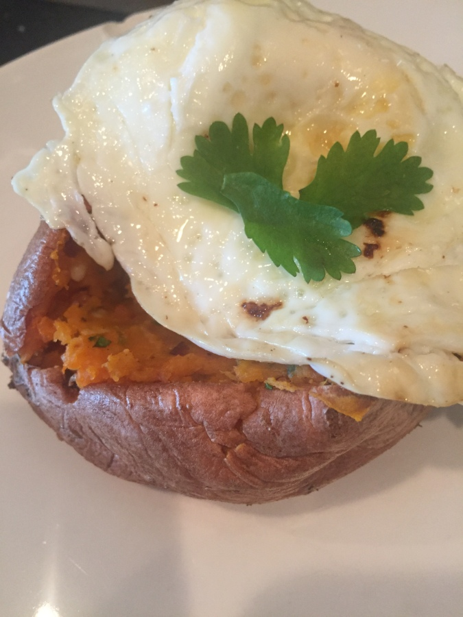 Twice-baked Mexican sweet potato